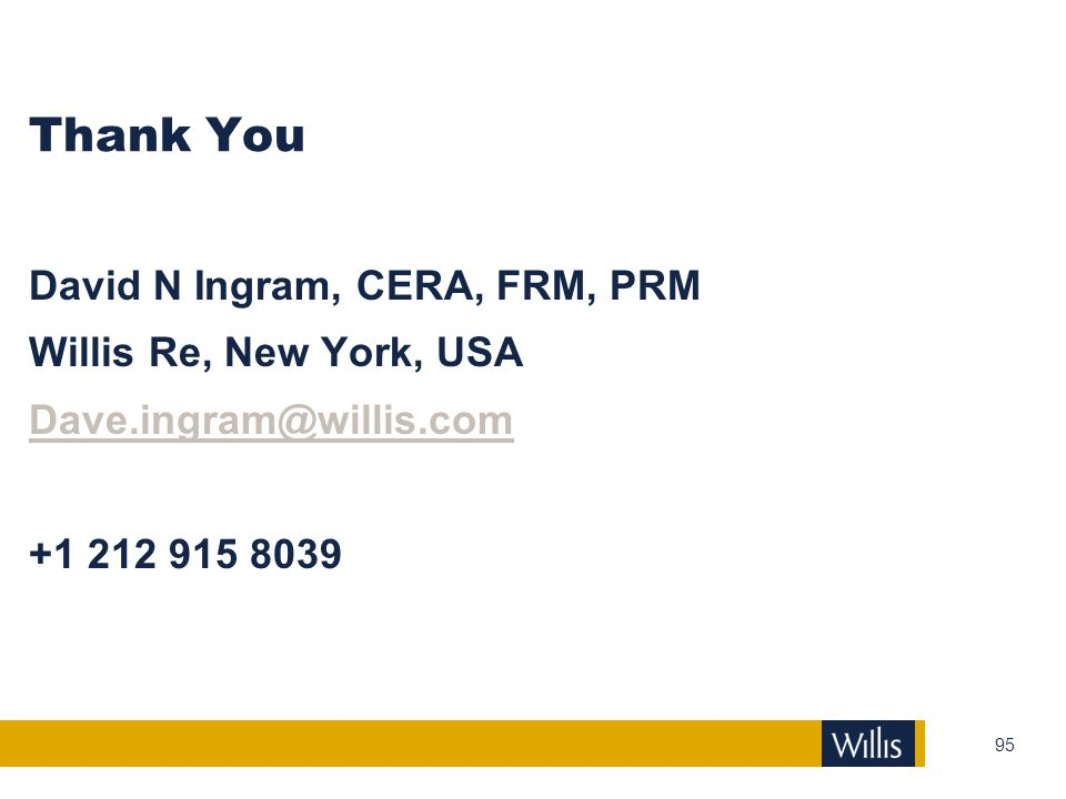 Thank You David N Ingram, CERA, FRM, PRM Willis Re, New York, USA