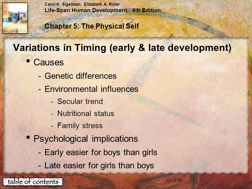 Variations in Timing (early & late development)