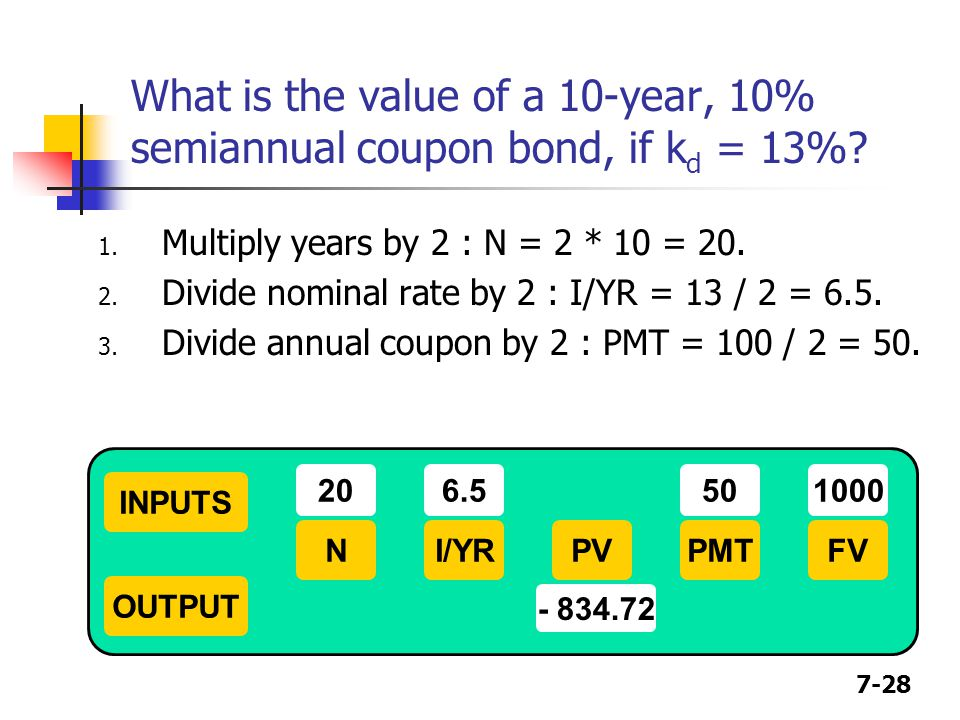 What is the value of a 10-year, 10% semiannual coupon bond, if kd = 13%