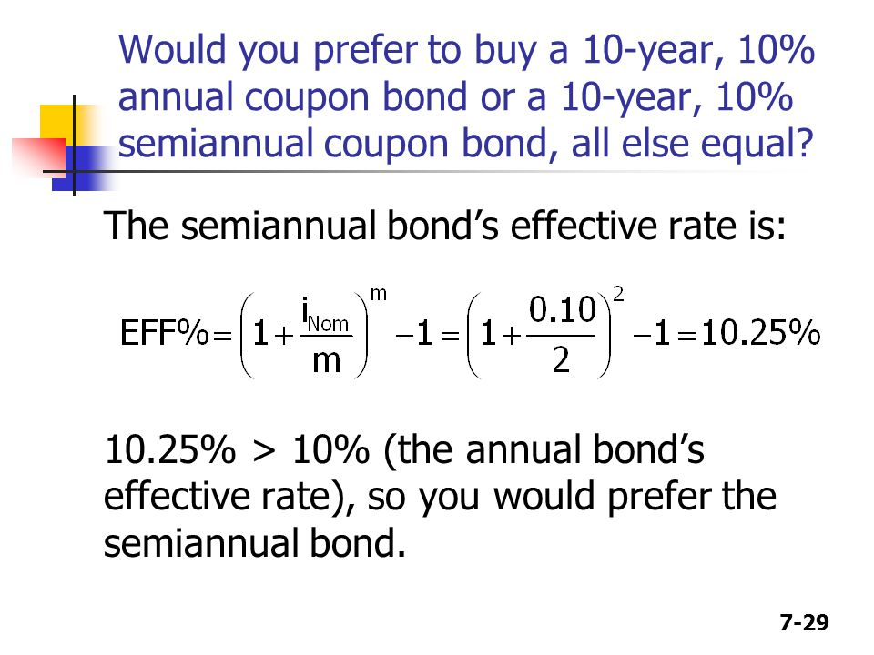Would you prefer to buy a 10-year, 10% annual coupon bond or a 10-year, 10% semiannual coupon bond, all else equal
