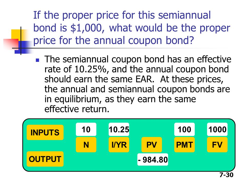 If the proper price for this semiannual bond is $1,000, what would be the proper price for the annual coupon bond