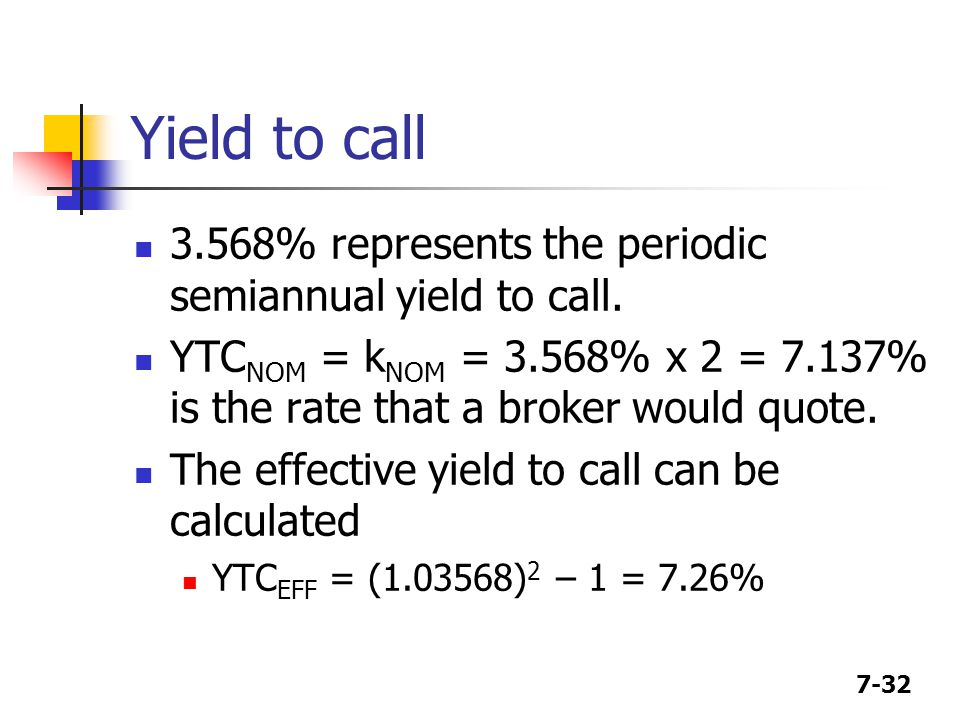 Yield to call 3.568% represents the periodic semiannual yield to call.