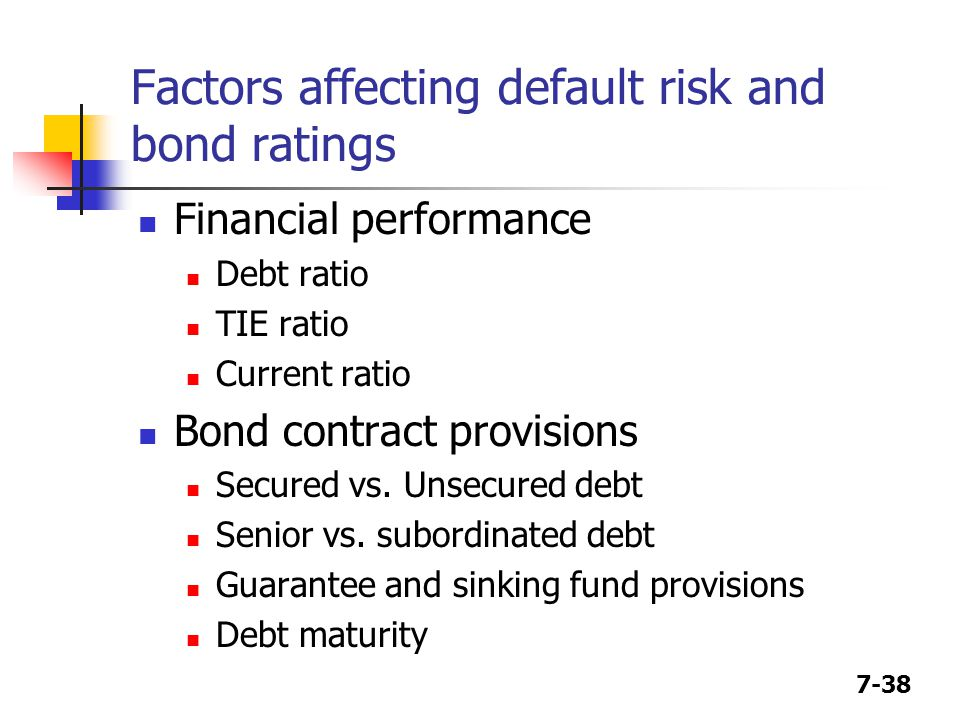 Factors affecting default risk and bond ratings