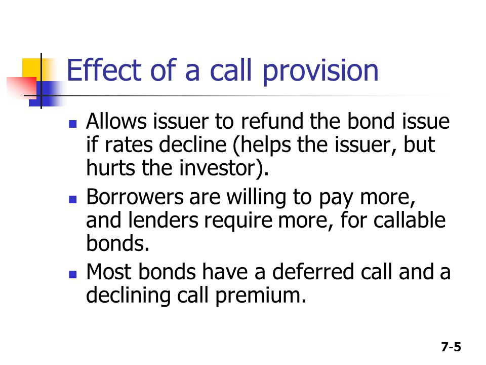 Effect of a call provision