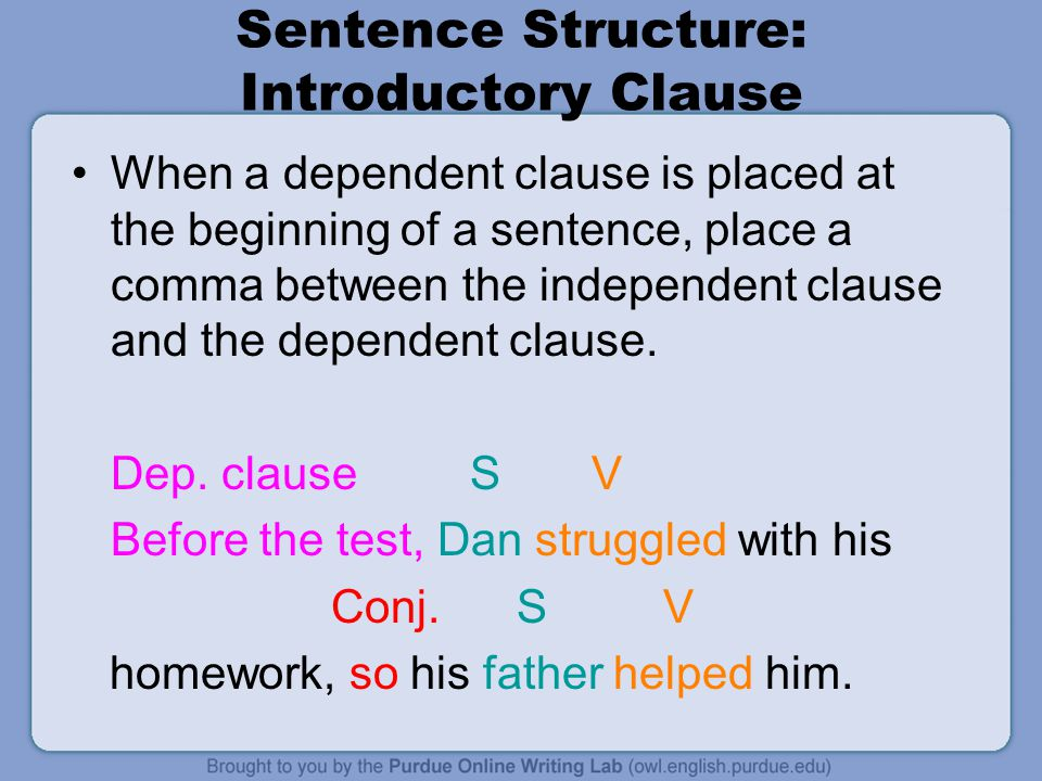 Sentence Structure: Introductory Clause