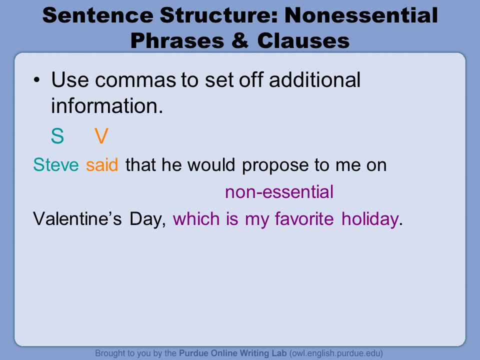 Sentence Structure: Nonessential Phrases & Clauses