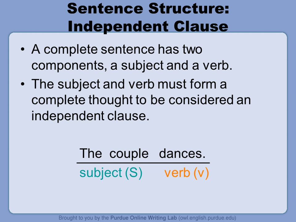 Sentence Structure: Independent Clause