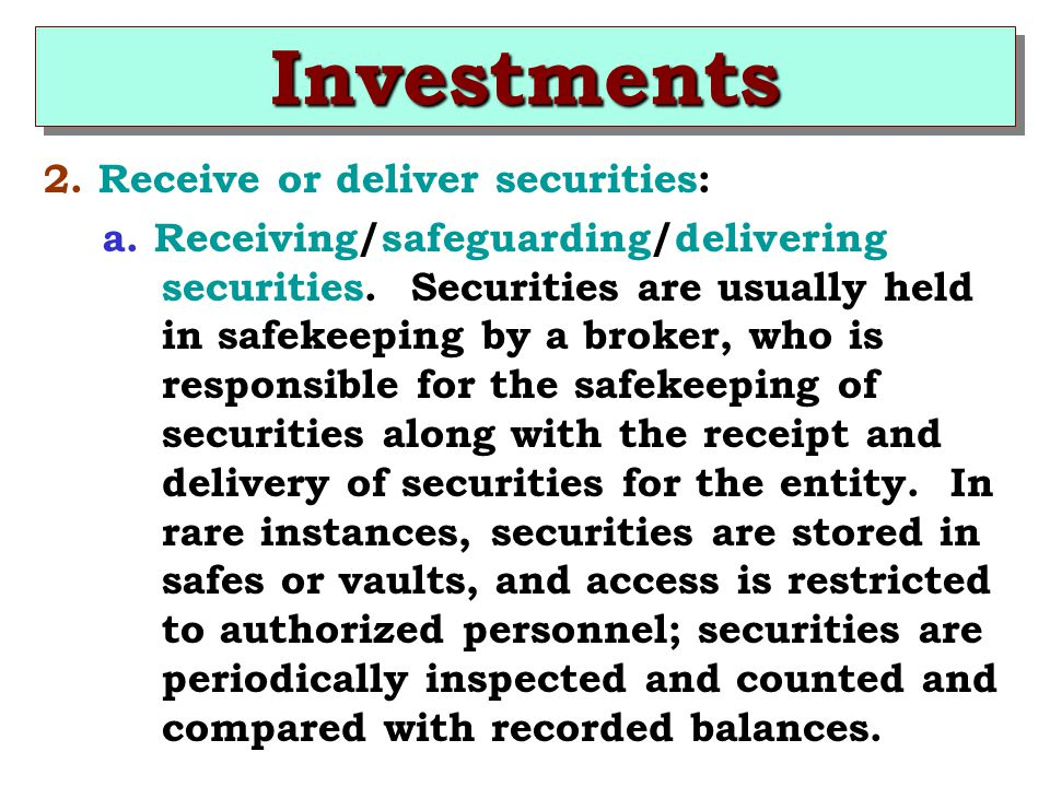 Investments 2. Receive or deliver securities: