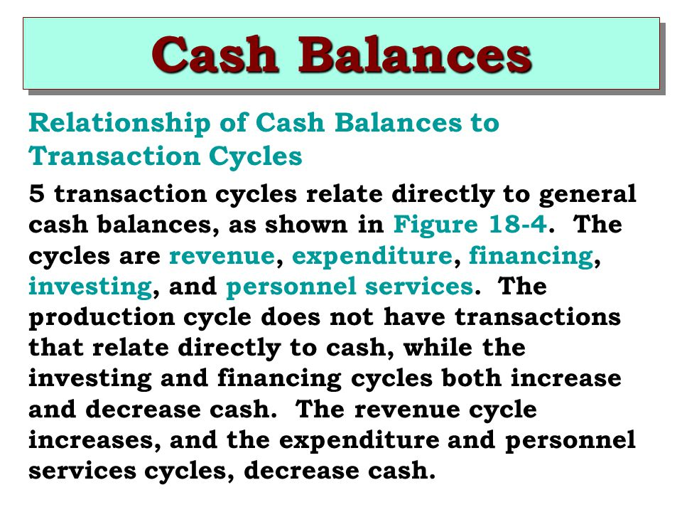 Cash Balances Relationship of Cash Balances to Transaction Cycles