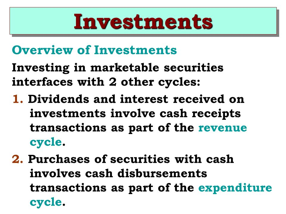 Investments Overview of Investments