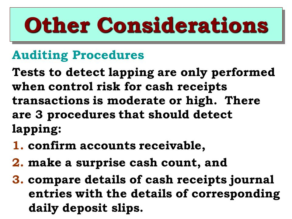 Other Considerations Auditing Procedures