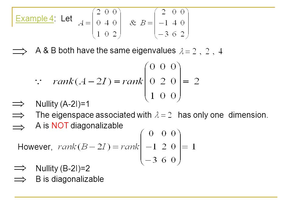 Example 4: Let A & B both have the same eigenvalues. Nullity (A-2I)=1. The eigenspace associated with has only one dimension.
