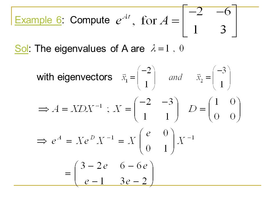 Example 6: Compute Sol: The eigenvalues of A are with eigenvectors