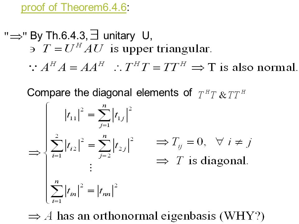proof of Theorem6.4.6: By Th.6.4.3, unitary U, Compare the diagonal elements of