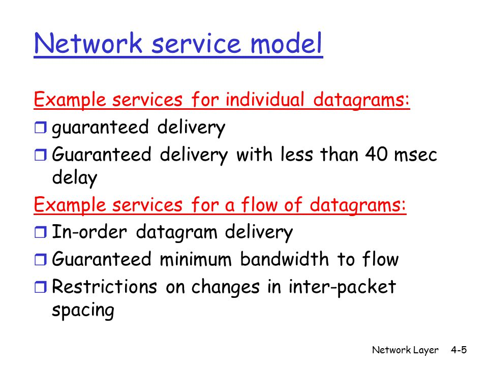 Network service model Example services for individual datagrams: