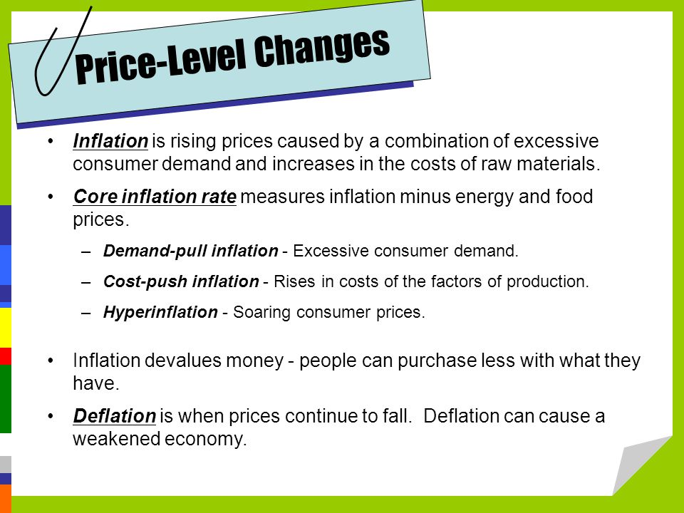 Price-Level Changes Inflation is rising prices caused by a combination of excessive consumer demand and increases in the costs of raw materials.