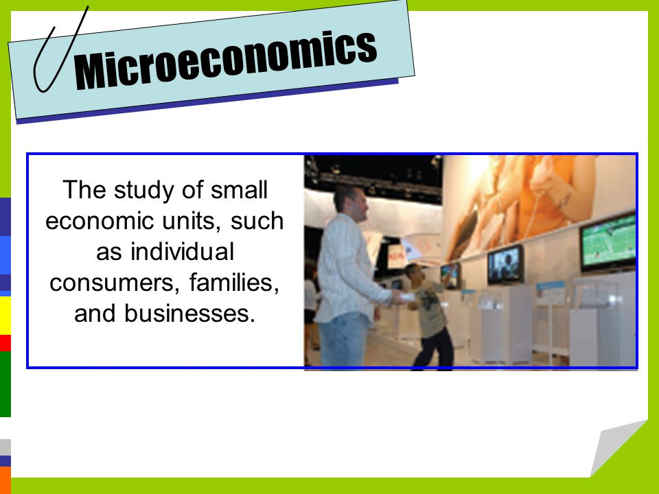Microeconomics The study of small economic units, such as individual consumers, families, and businesses.