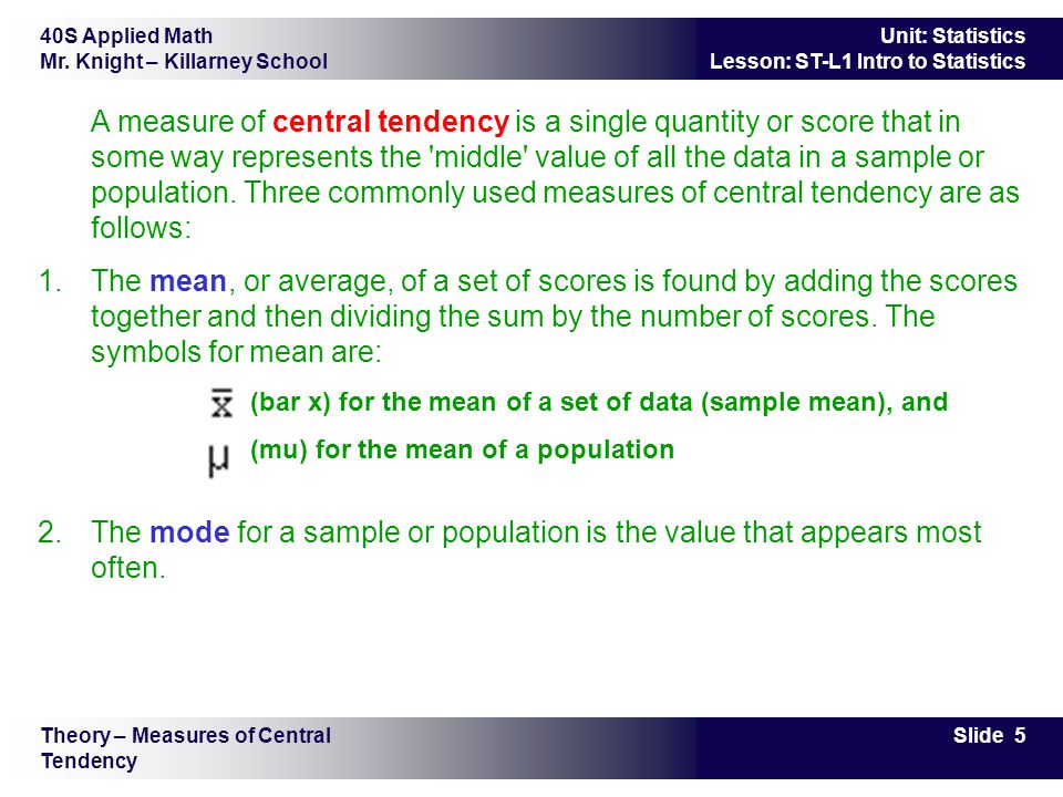 Intro To Statistics St L1 Objectives To Review Measures Of Central