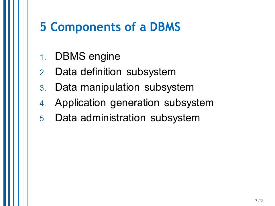 5 Components of a DBMS DBMS engine Data definition subsystem