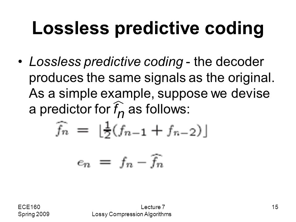 lossless predictive coding example