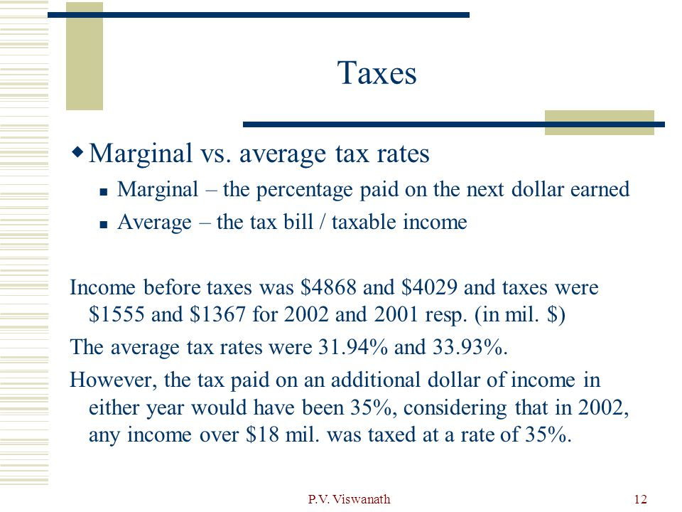 Taxes Marginal vs. average tax rates