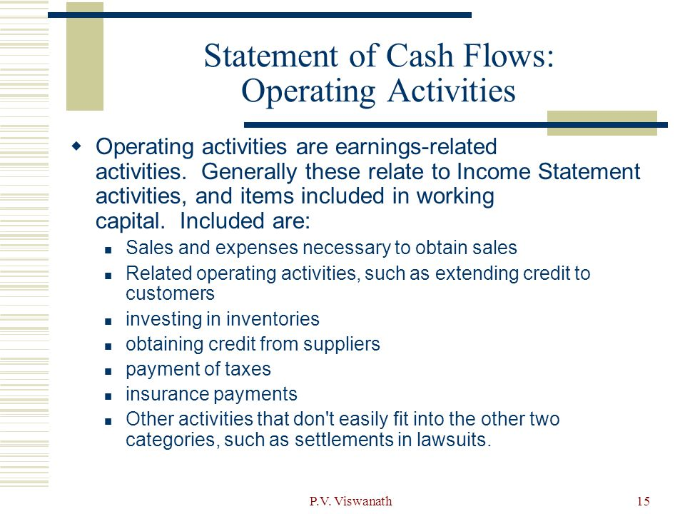 Statement of Cash Flows: Operating Activities