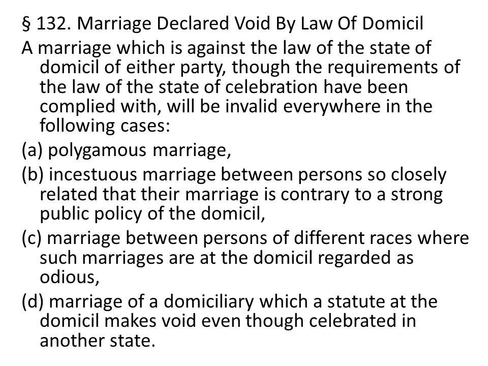 § 132. Marriage Declared Void By Law Of Domicil