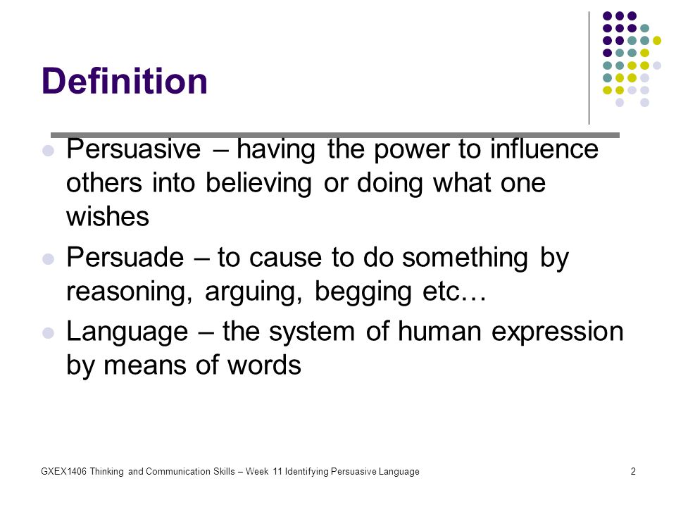 what does persuasive language mean