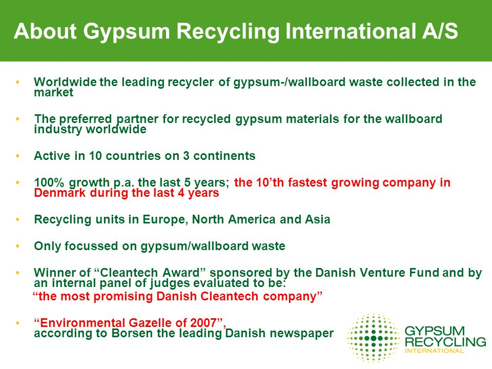 About Gypsum Recycling International A/S