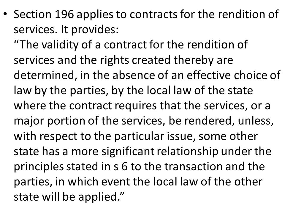 Section 196 applies to contracts for the rendition of services
