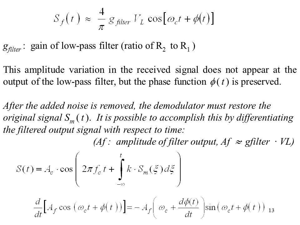 gfilter : gain of low-pass filter (ratio of R2 to R1 )