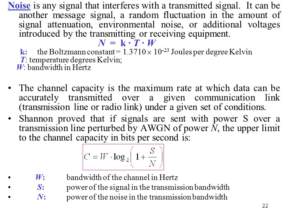 Noise is any signal that interferes with a transmitted signal