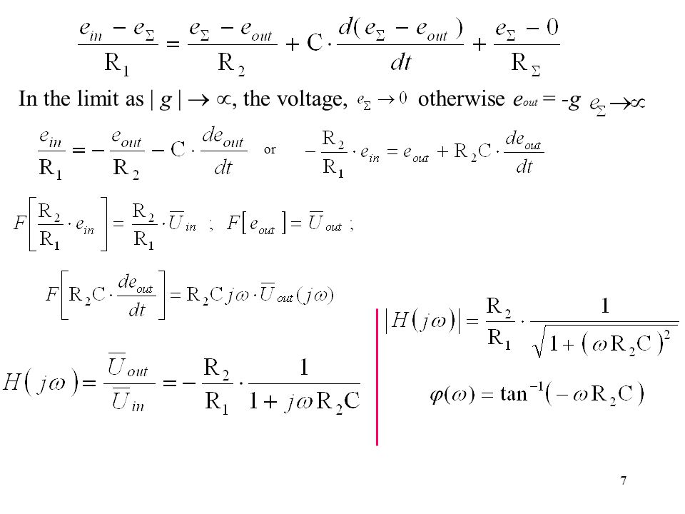 In the limit as | g |  , the voltage, otherwise eout = -g