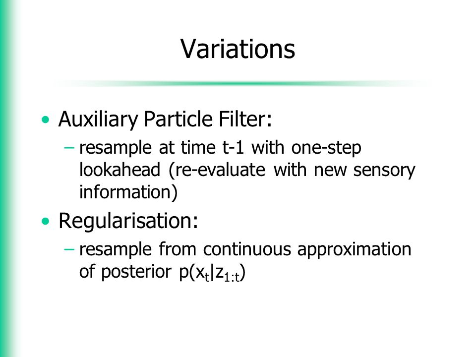 Variations Auxiliary Particle Filter: Regularisation: