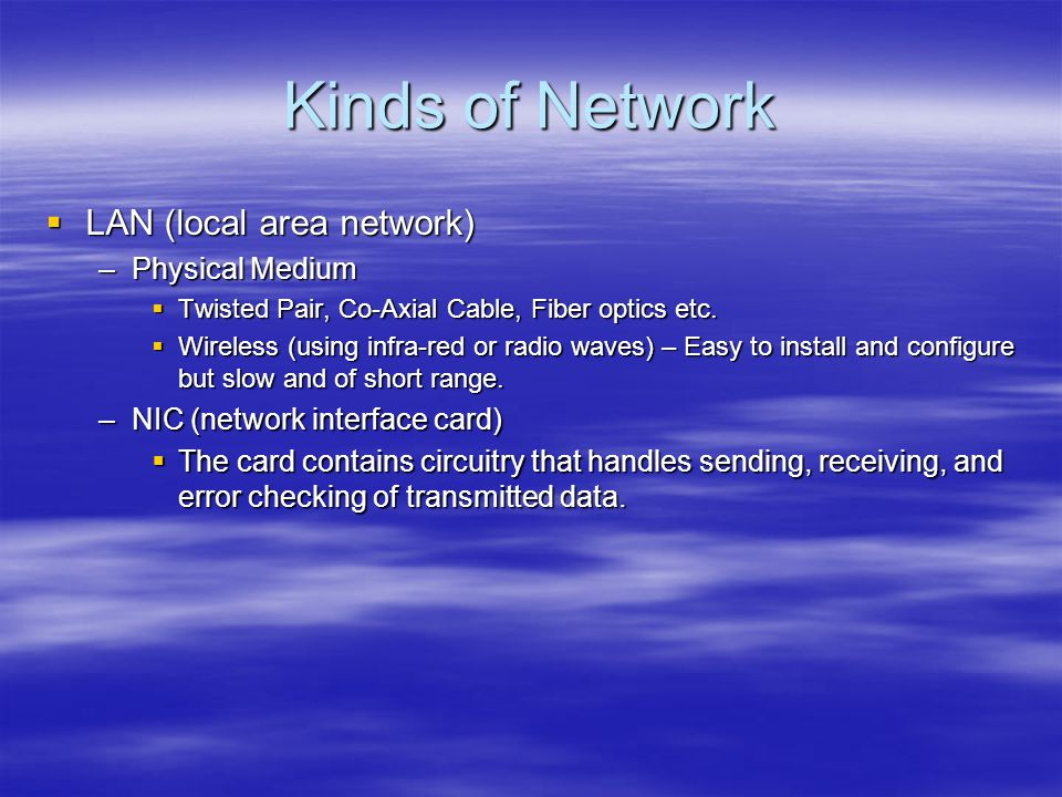 Kinds of Network LAN (local area network) Physical Medium