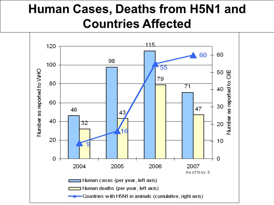 Human Cases, Deaths from H5N1 and Countries Affected