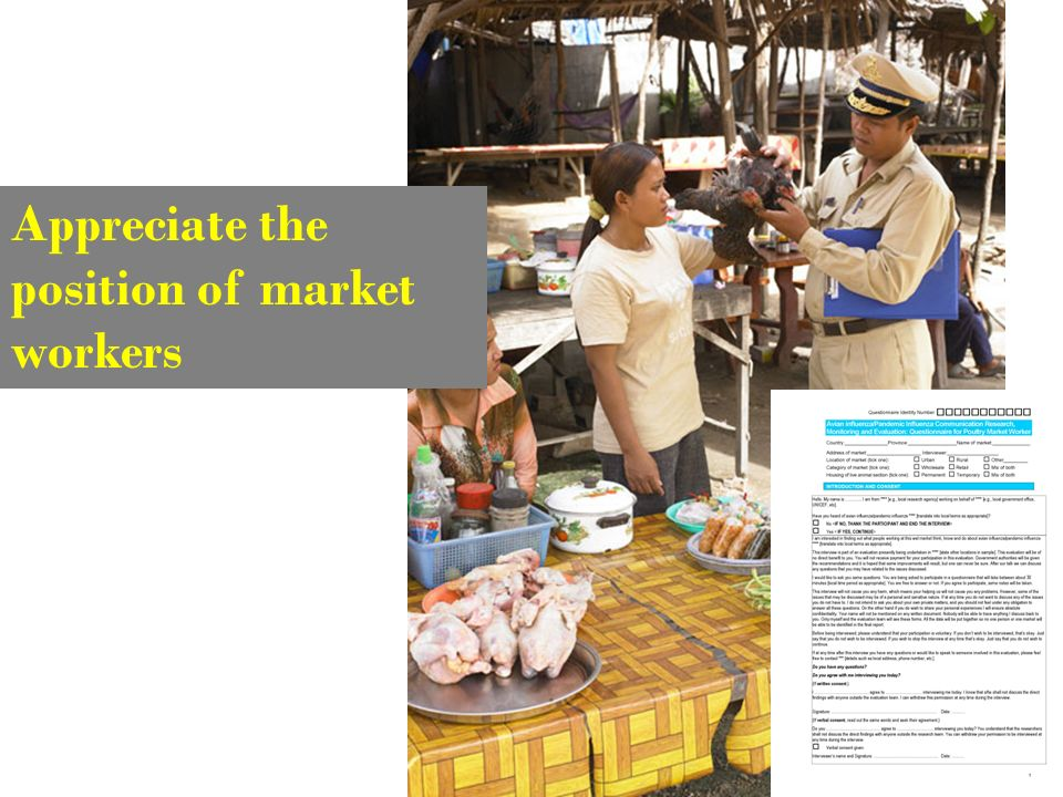 Appreciate the position of market workers