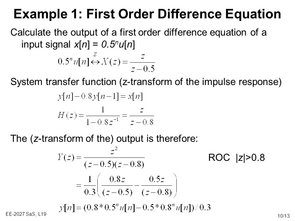 Example 1: First Order Difference Equation