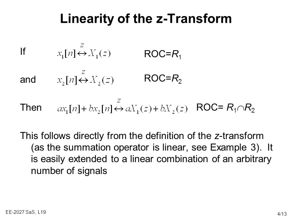 Linearity of the z-Transform