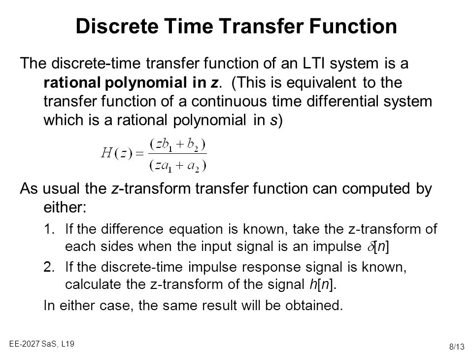 Discrete Time Transfer Function