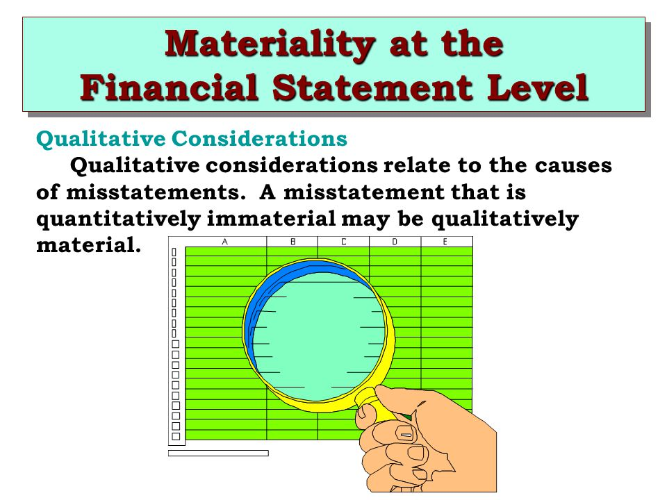 Materiality at the Financial Statement Level