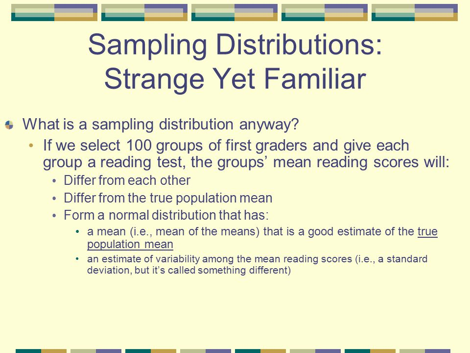 Sampling Distributions: Strange Yet Familiar