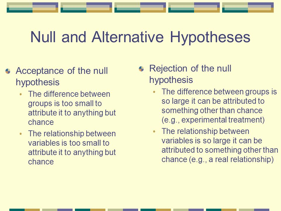 Null and Alternative Hypotheses
