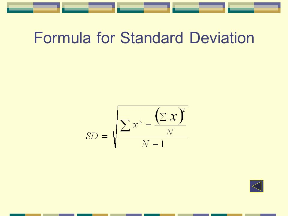 Formula for Standard Deviation