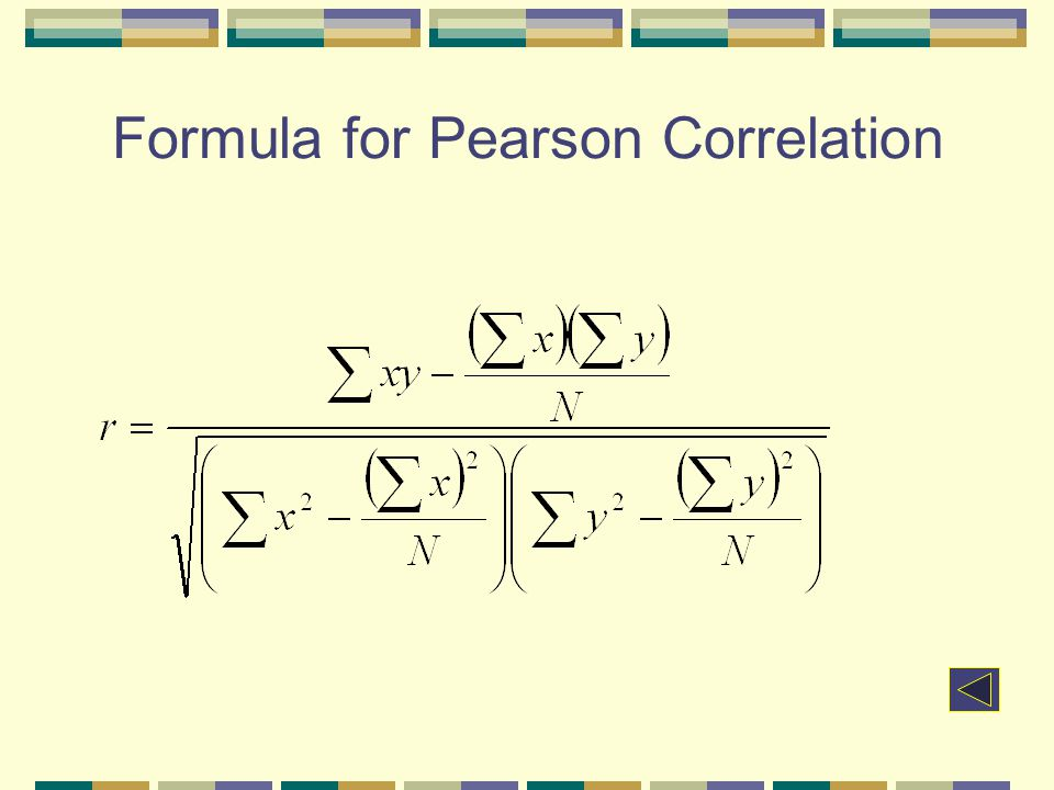 Formula for Pearson Correlation