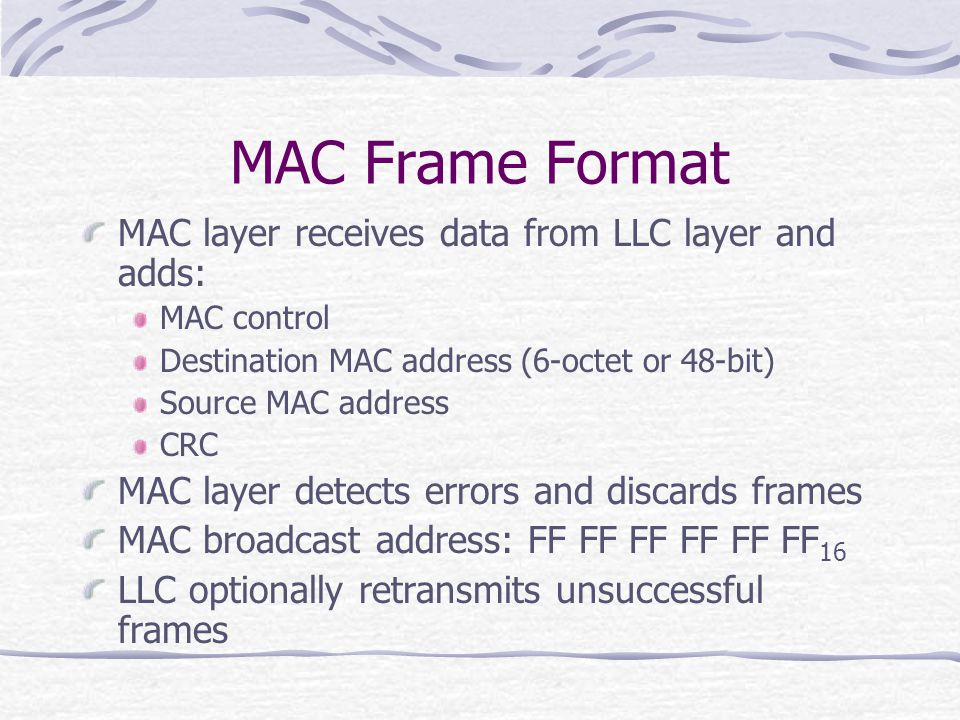 MAC Frame Format MAC layer receives data from LLC layer and adds: