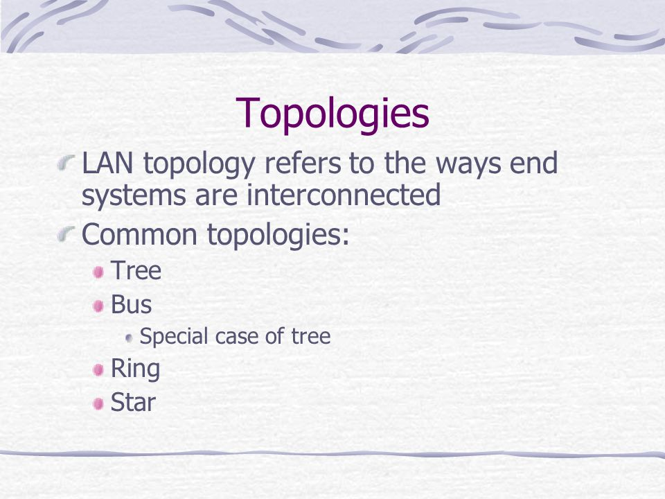 Topologies LAN topology refers to the ways end systems are interconnected. Common topologies: Tree.