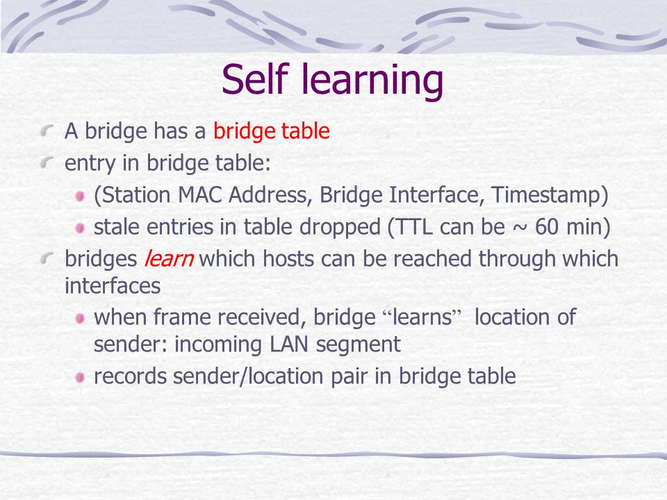 Self learning A bridge has a bridge table entry in bridge table: