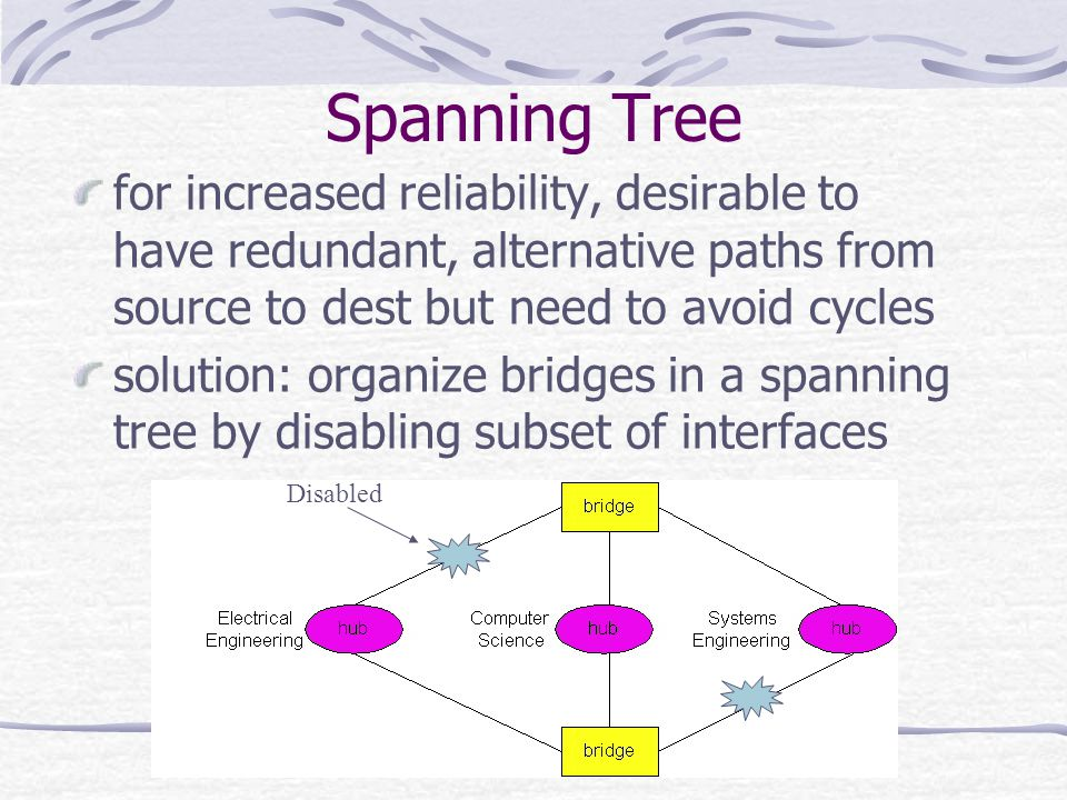 Spanning Tree for increased reliability, desirable to have redundant, alternative paths from source to dest but need to avoid cycles.