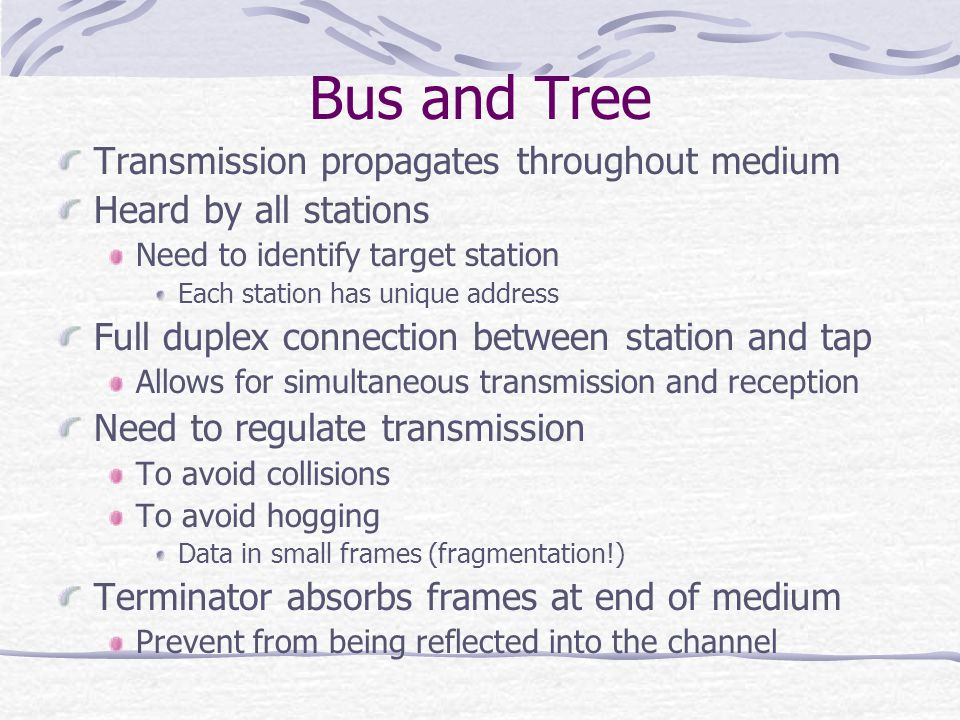 Bus and Tree Transmission propagates throughout medium